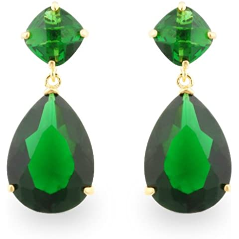 jankuo joyería dorado Angelina Jolie inspirado novia Prom Pendientes de gota de color esmeralda