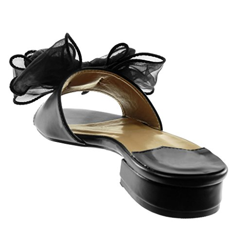 Angkorly Scarpe Moda Sandali Mules Slip-On Donna Nodo tulle Tacco a Blocco Alto 4 cm Nero