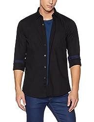 Allen Solly Mens Plain Regular Fit Cotton Casual Shirt (AMSF517G006458_Black_46)