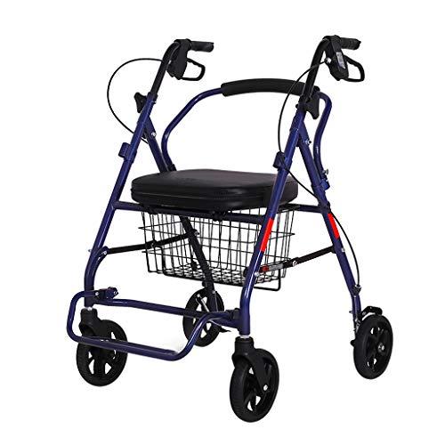 Rollatoren Einkaufswagen älterer Spaziergänger, Faltbare, einstellbare Armlehnenhöhe mit 150KG, einfach zu tragender vierrädriger Wagen