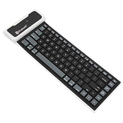 Mini Bewegliche wasserdichte Faltbare Drahtlose Bluetooth-Silikon-Tastatur Für Tablette Oder Andere Handys DREI-System,Schwarz