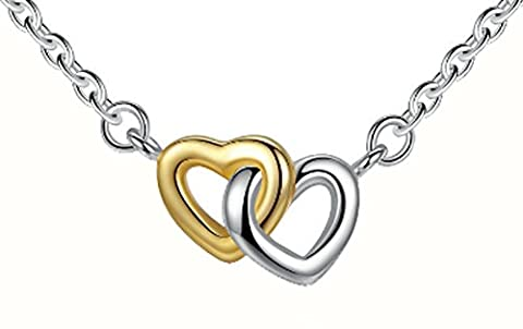 SaySure - 925 Sterling Silver & Gold Plated United in Love Heart