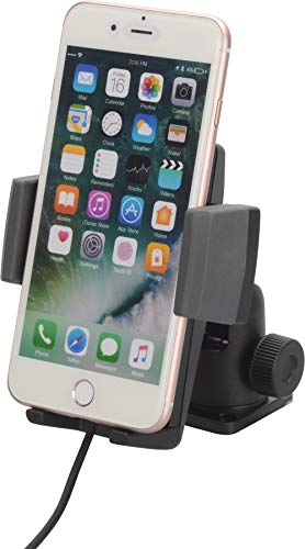 HR GRIP Universal Fast Wireless Charging 5W, 7,5W, 10W Halterungslösung für Smartphones zwischen 57mm & 86mm Breite [Designed in Germany I inkl. Qualitäts-Charger I 360° Drehbar] 23511911 -