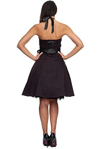 Zarlena, Rockabilly, Vestito vintage con fantasia a pois, con allacciatura al collo Schwarz / Pink mit kleinen Dots