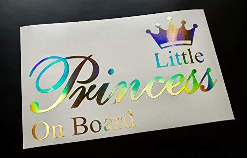 Little Princess Baby Child on Board Safety Sign Gold Neo Hologram Chrome Car Van Window Bumper Windscreen Vinyl Die Cut Custom Sticker Decal Graphic 200mm x 125mm -