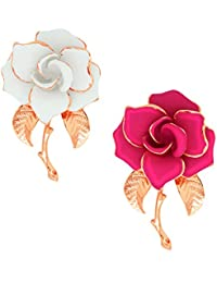 Spargz Floral Design Party Wear Alloy Metal 2 Pack Of Broach For Women COMBO_695