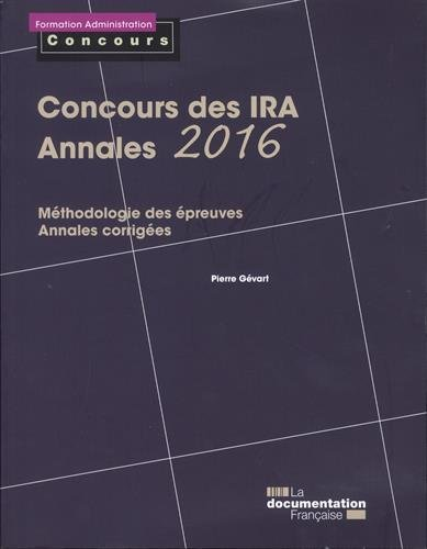 Concours des IRA - Annales 2016 : Epreuves écrites