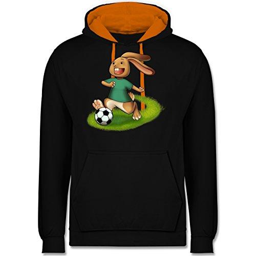 Fußball - Fußball Hase - Kontrast Hoodie Schwarz/Orange