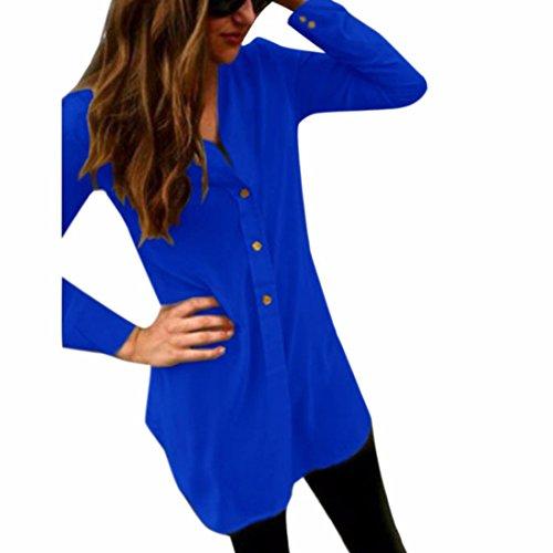 QIYUN.Z Femmes En Mousseline De Soie De Sucrerie Automne Couleur Moyen Shirt Manches Longues Bleu