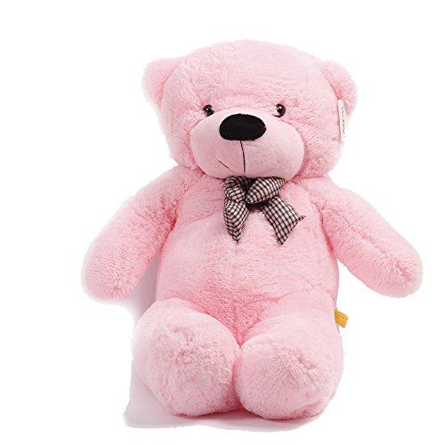YunNasi Pink Rosa Riesen Teddybär XXL Kuschelbär 120 cm groß Plüschbär Original Teddy Bär mit Schleife Rosa (120CM/47'') (Extra Großer Teddybär)