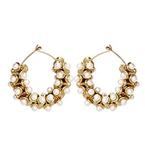 FIDA Stylish Gold Hoop Earring with Pearls