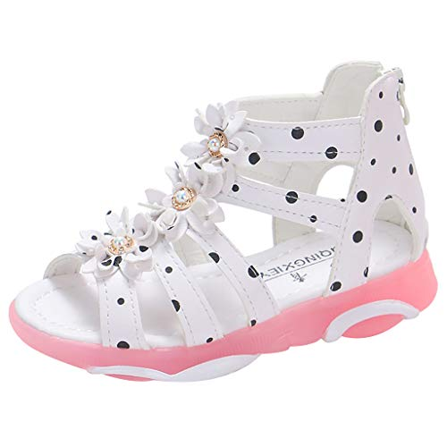 feiXIANG Kinder Schuhe Freizeitschuhe Sandalen Anti-Rutsch Kleinkind Baby Polka Dot Strass Peep Toe Princessschuhe (Weiß,22) - Polka Dot Kinder Socken