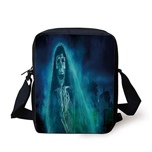 Halloween Decorations,Gothic Dark Backdrop with a Dead Ghost Skull Mystical Haunted Horror Theme,Blue Print Kids Crossbody Messenger Bag Purse