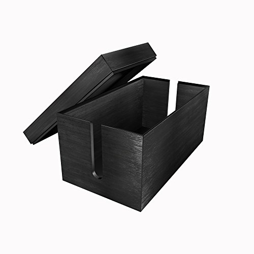 KD Essentials Caja de cables de bambú, (14 x 25,4 x 14 cm, material natural, organización de cables, negro),