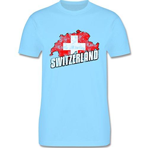 EM 2016 - Frankreich - Switzerland Umriss Vintage - Herren Premium T-Shirt Hellblau