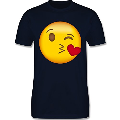 Shirtracer Comic Shirts - Emoji Kuss-Mund - Herren T-Shirt Rundhals Navy Blau