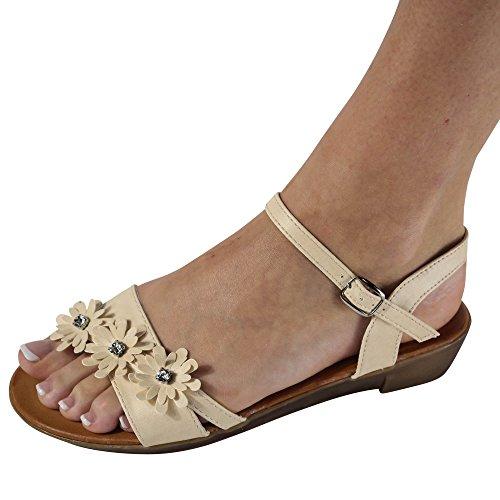 Damen Sandalen Sandaletten Blumen Keilabsatz Zehentrenner ST42 Beige
