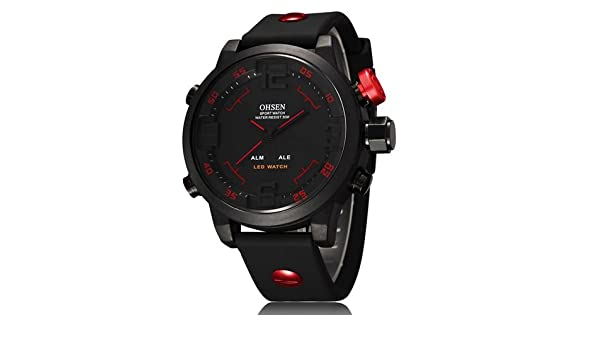 81a145225fe Buy Man s Serie OHSEN Quartz Digital Watch LED Date Day Alarm Sports Watch  Men Rubber Band Waterproof Army Watches Relogio Masculino - Red Online at  Low ...