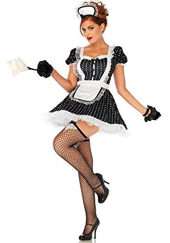Leg Avenue Frisky French maid Kostüm, schwarz, weiß , Größe: X-Large (EUR (Kostüm Putzfrau Halloween)