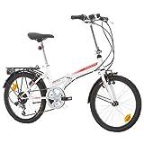 Bikesport FOLDING Bicicleta plegable ruedas de 20 Shimano 6 velocidades (Blanco brillante rojo)