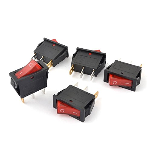 5Pcs 15A 250VAC 30A 125VAC Plattenmontage Rote Lampe 3Pin Wippschalter -
