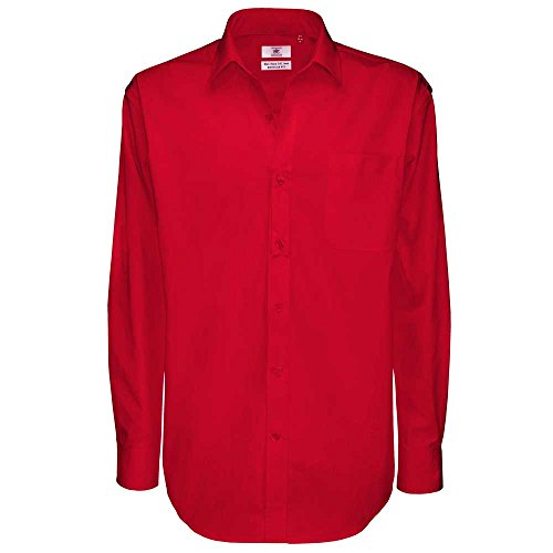 B&C Collection Sharp Long Sleeve Mens Twill Cotton Smart Formal Work Shirt Deep Red