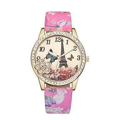 XKC-watches Herrenuhren, Damen Armbanduhr Quartz Eiffelturm Armbanduhren für den Alltag Leder Band Analog Blume Böhmische Schwarz/Blau/Rot - Blau Rosa Leicht Grün (Farbe : Gold)