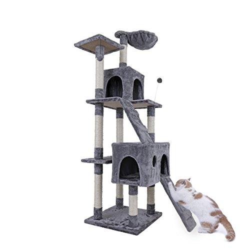 Speedy Pet XXL Katzen Kratzbaum Mittelhoch (Höhe:173 cm) Katzenbaum mit Liegemulde,2 Spielbällen,2 Höhlen und 2 Treppen Katzenkratzbaum Katzen Spielbaum Kletterbaum für Katzen 49 * 49 * 173cm Grau