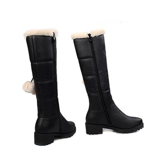 Mejores 4u® Invierno Mujer Zapatos Pu Cremallera Tacones Gruesos Botas Slouch Punta Redonda Estilo Casual Naranja Negro Naranja