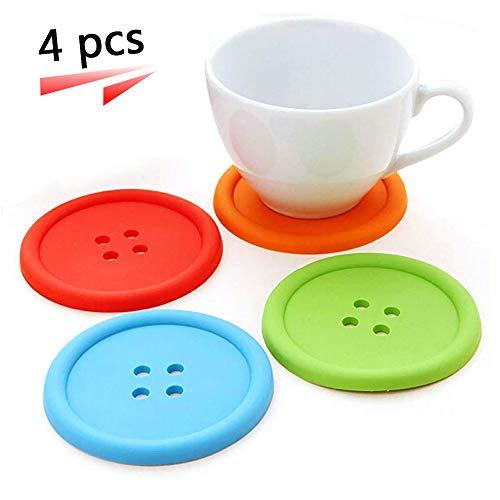 Silikon Button Untersetzer Tasse Matte Hitzebeständigkeit rutschfest Kaffee Tisch-Sets Isolierung Pad, 4 Stück