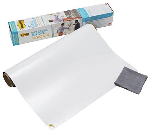 3M Post-it Super Sticky DEF 3x2-EU - Lámina de borrado en seco, pizarra blanca adhesiva, rollo de papel pizarra 60.9 x 91.4 cm, color blanco brillante