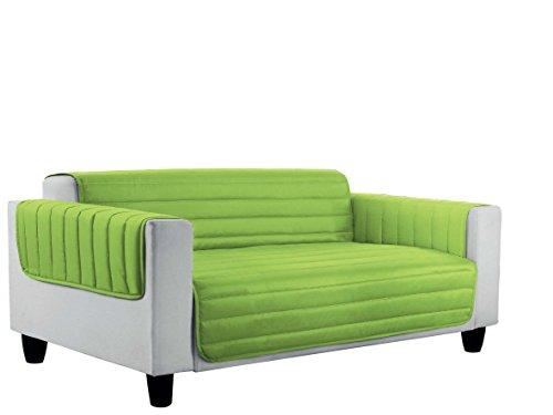 Italian bed linen elegant copri divano trapuntato in microfibra anallergica, doubleface, mela/verde scuro, 3 posti