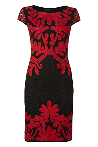 Roman Originals Women's Lace Contrast Embroidery Dress Red UK Size 10-20
