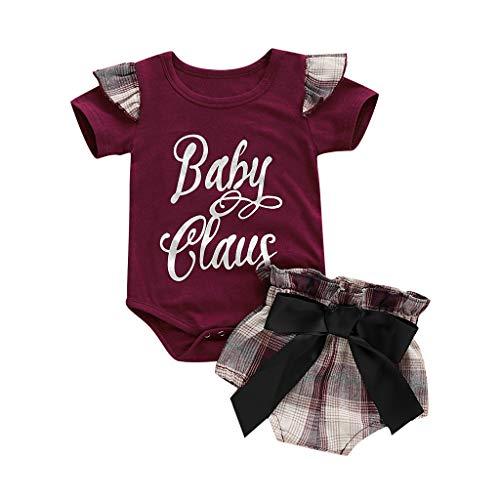OVINEE 2 STÜCKE Neugeborenen Kleinkind Babyspielanzug Infant Girls Print Overall Outfit Anzug Brief Drucken Bowknot Plaid Shorts Set