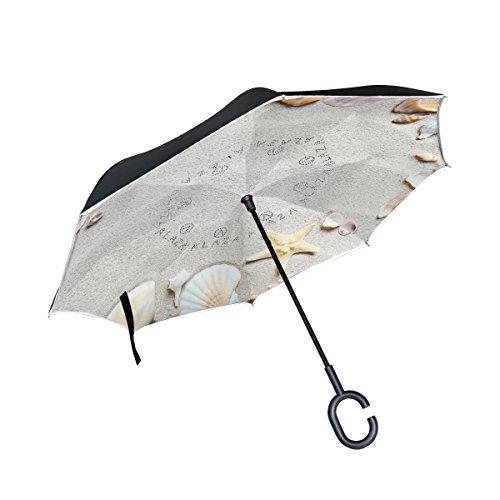 XiangHeFu Double Layer seitenverkehrt Rückseite Regenschirme Strand mit Seestern und Sand Muscheln Faltbar Winddicht UV-Schutz Big Gerade für Auto mit C-Förmigem Henkel