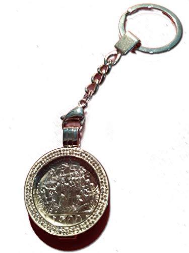 Generico CRISTOFORO COLOMBO CONIO 1992 MONETA 500 LIRE D'ARGENTO INCASTONATA IN PORTACHIAVI GIOIELLO UNICO