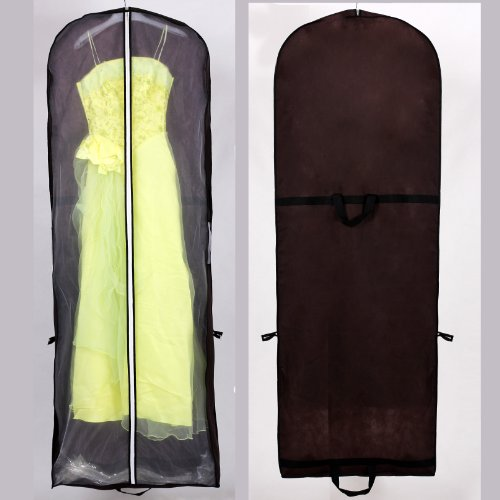 HIMRY® Sacca porta abiti traspirante, per vestiti da sposa / vestiti da sera / vestiti / giacche / cappotti , circa180 cm, cerniera - Due tasche per gli accessori - Marrone, KXB101 Brown