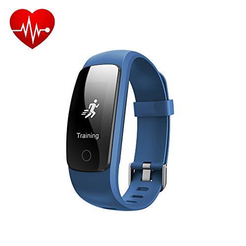 Nueva efoshm Fitness Tracker HR, letscom actividad Tracker con base de muñeca monitor de frecuencia cardiaca, IP67impermeable pulsera inteligente con paso rastreador Sleep Monitor contador de calorías podómetro reloj para Android y iOS, azul