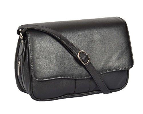Femmes cuir véritable Sac à bandoulière noir Messenger Cross Body Flap Over sac A75