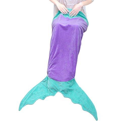 Goodlucky365 Mermaid Decke Sofa Decke (Alter 3-12) (lila + Grün)