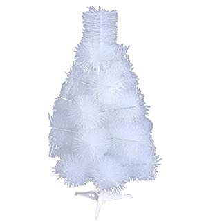 HENGMEI 60cm Artificial Árbol de Navidad Decoración Navideña, Material PVC Aguja de Pino, Blanco con Soporte en Plastic