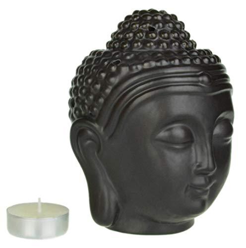 Piquaboo Lampe aromatique en forme de tête de Bouddha Grand format Noir
