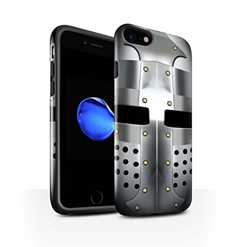 STUFF4 Glanz Harten Stoßfest Hülle / Case für Apple iPhone 7 / Kreuzritter Helm Muster / Ritter Rüstung Kollektion Beckenhaube Helm