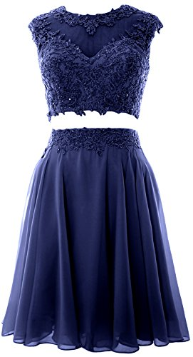 MACloth Women Vintage 2 Piece Prom Homecoming Dress Lace Wedding Party Gown  (38, Dunkelmarine