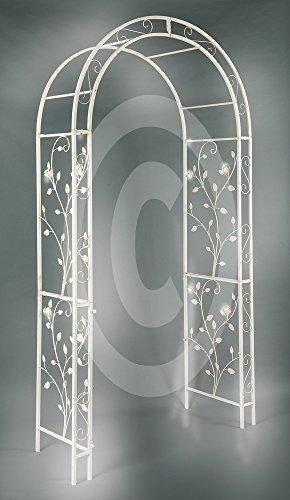 Antikes Elfenbein Finish (XL Metall Rosenbogen Pergola Spalier verziert Eisen Rosenbögen XXL 235 cm hoch)
