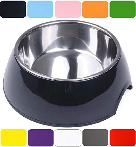 DDOXX Fressnapf in vielen Farben & Größen für kleine & große Hunde Katzen | Futternapf Katze klein | Hundenapf Hund groß | Katzennapf Edelstahl | Melamin-Napf | Schwarz, 160 ml