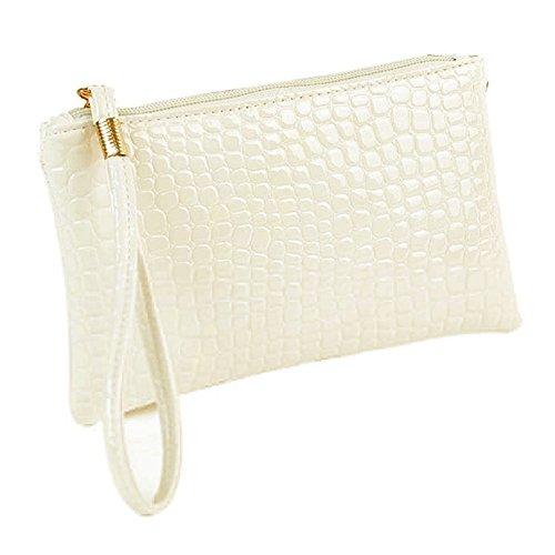 TUDUZ Damen Arbeiten Krokodilleder Clutch Handtasche Tasche Geldbörse (Weiß) - West-clutch-handtasche