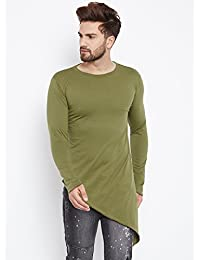 FUGAZEE Men's Triangular Hem Longline T-Shirt