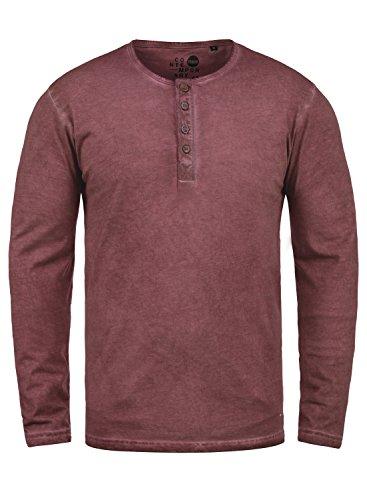 !Solid Timur Herren Longsleeve Langarmshirt mit Grandad- Ausschnitt aus 100% Baumwolle Slim Fit Meliert, Größe:M, Farbe:Wine Red (0985)