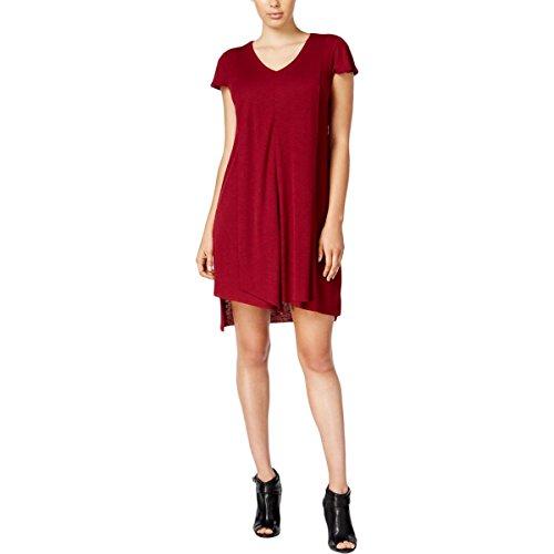 kensie $79 Womens New 1275 Maroon Cap Sleeve V Neck Shift Dress XS B+B V-neck Shift